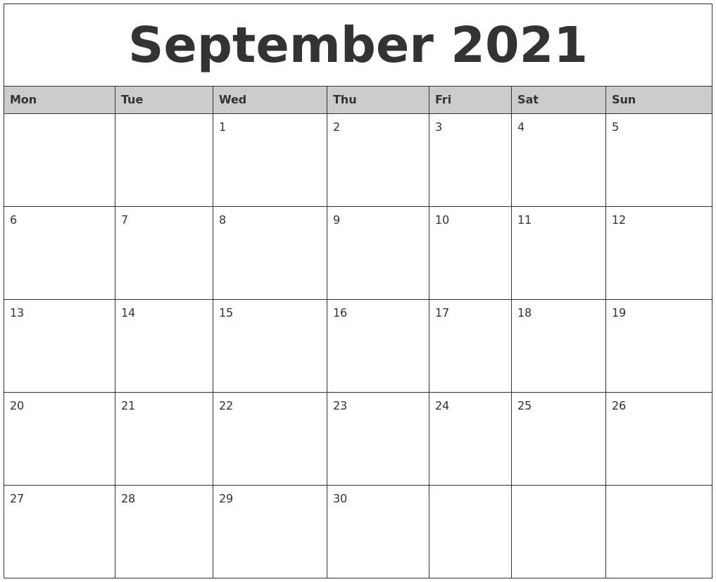 September 2021 Monthly Calendar Printable