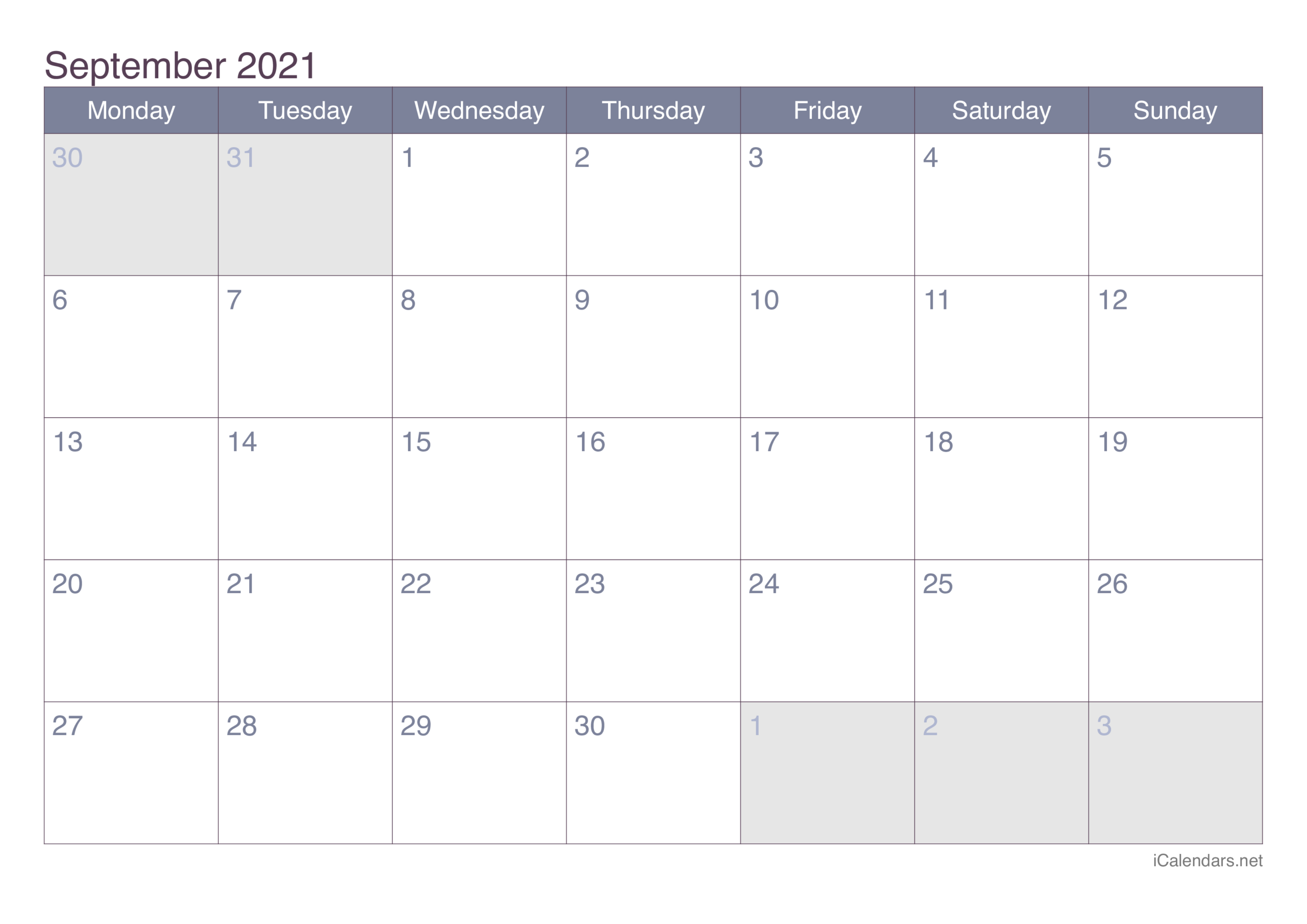 September 2021 Printable Calendar - Icalendars