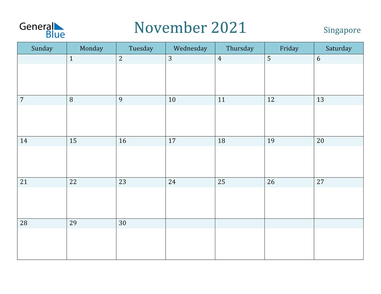 Singapore November 2021 Calendar With Holidays