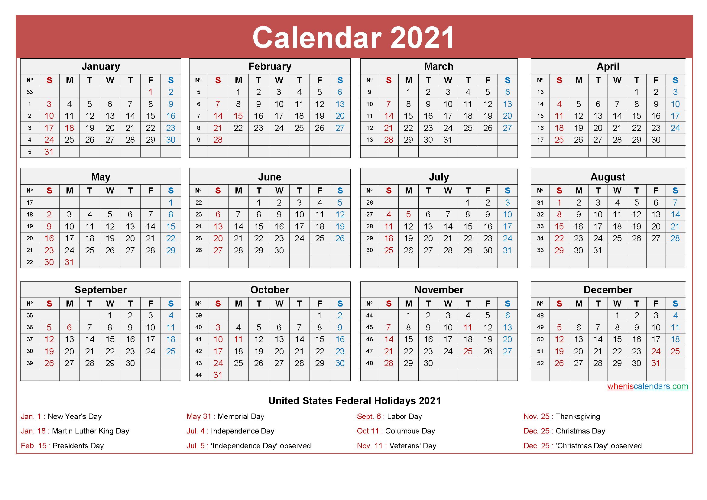 Small Desk Calendar 2021 With Holidays - Free Printable