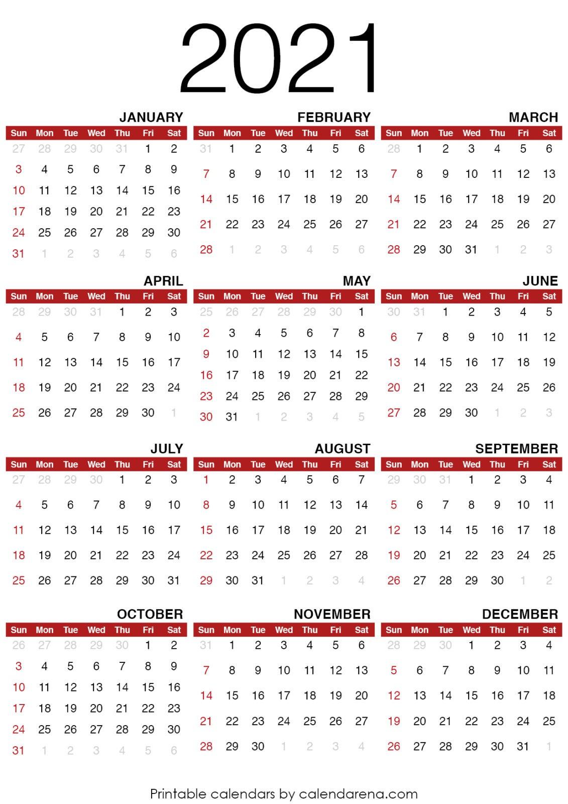 Small Printable Calendar 2021 Free | 2021 Printable Calendars