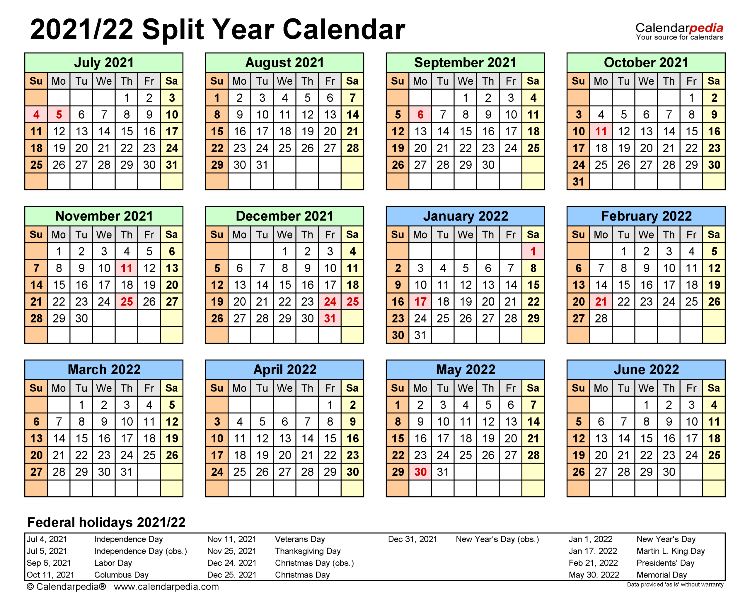 Split Year Calendars 2021/2022 (July To June) - Word Templates