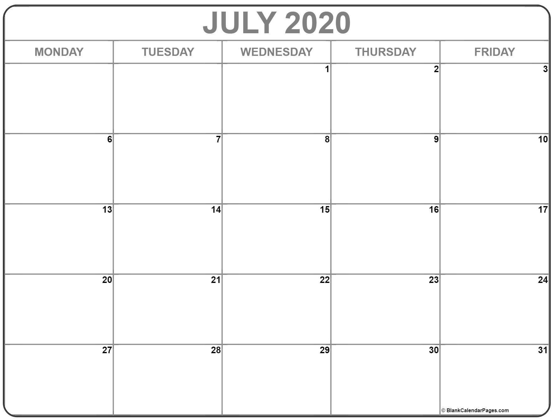 Sunday Thru Saturday Blank Calendar | Calendar Template