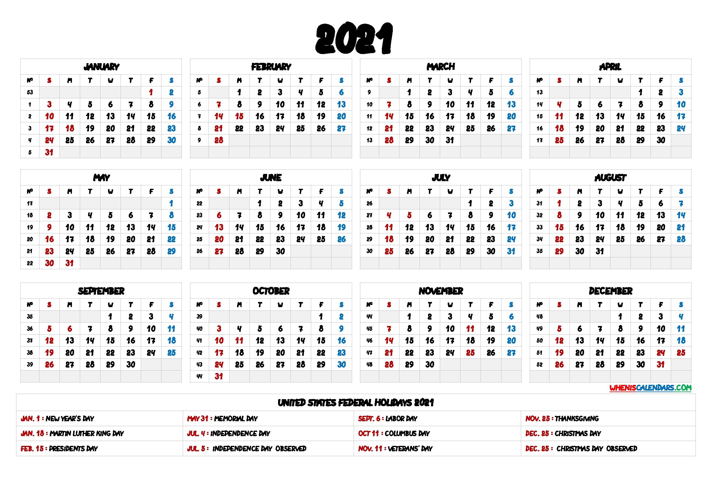 Take 2021 Calendar Printable One Page - Best Calendar Example