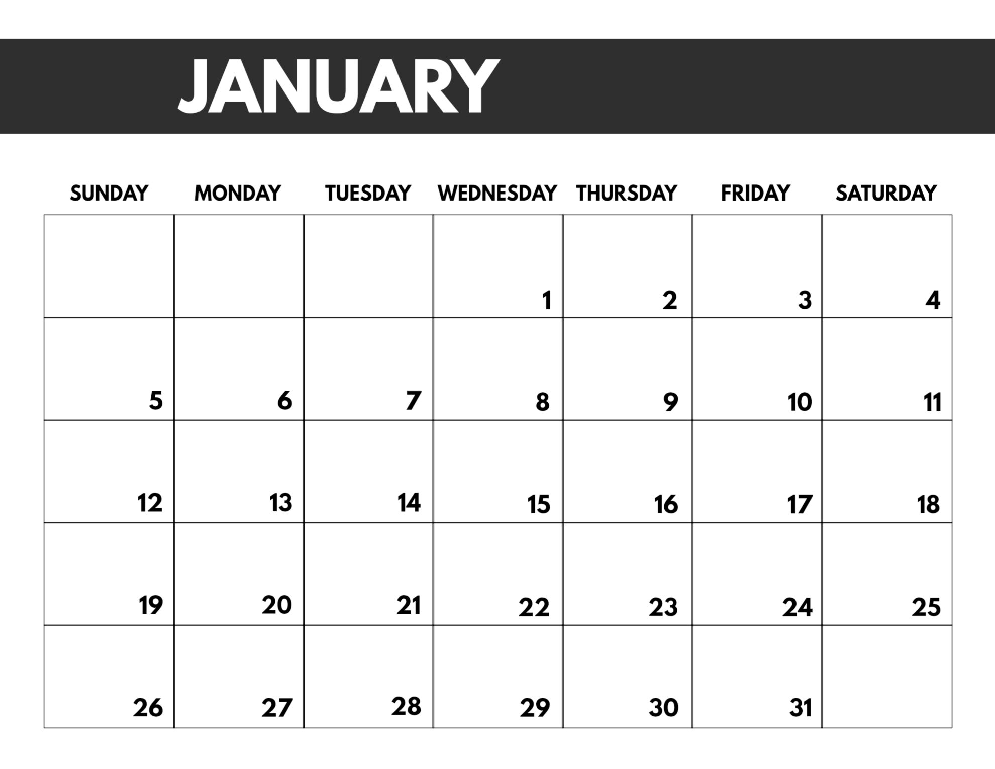 Take Printable Monthly Calender 2020 Bold Big Numbers