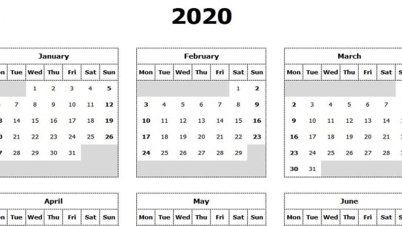 Take Yearly Calendar Printable 2020 Start On Monday | Calendar Printables Free Blank