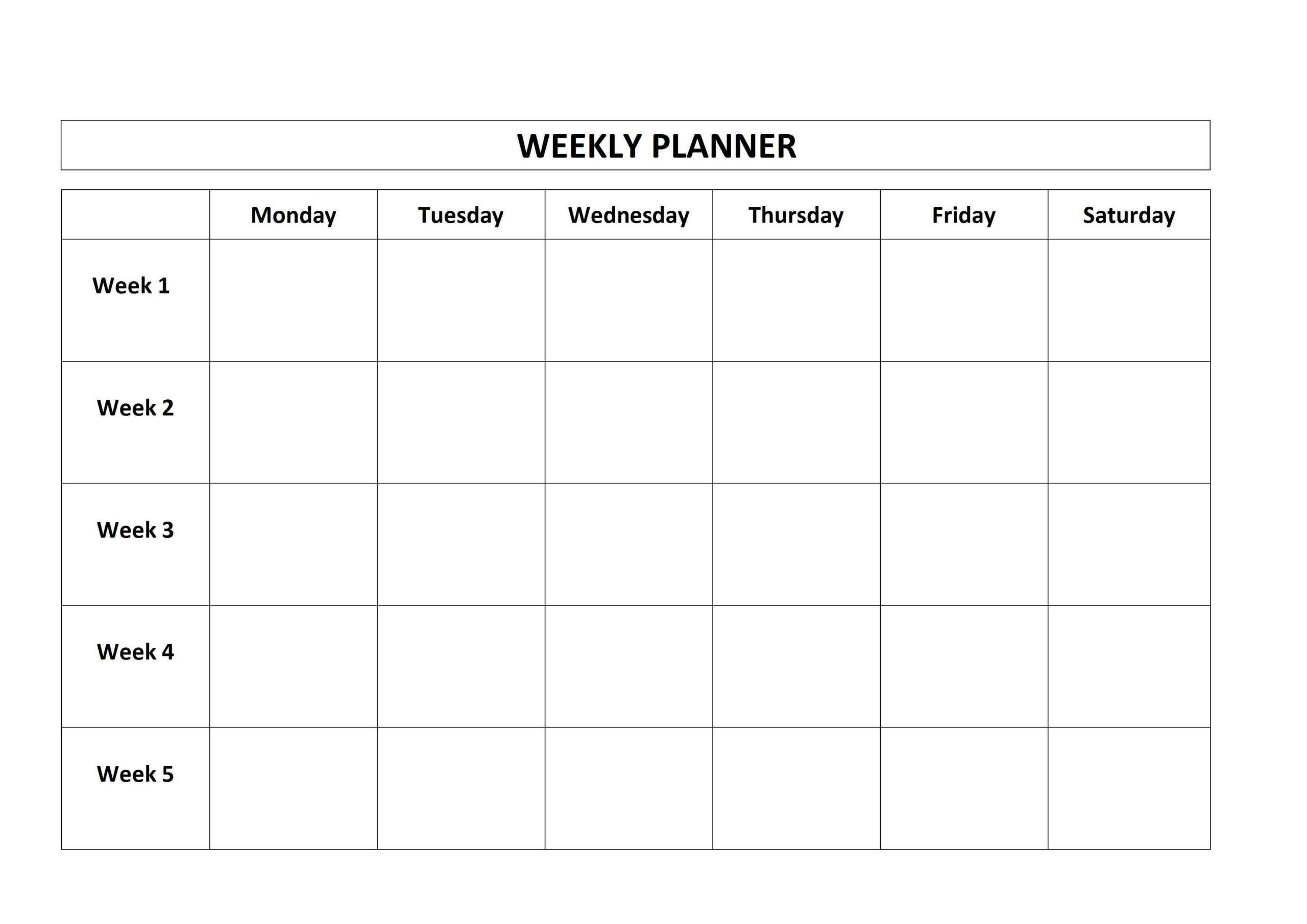 Template Monday To Friday | Calendar Template Printable