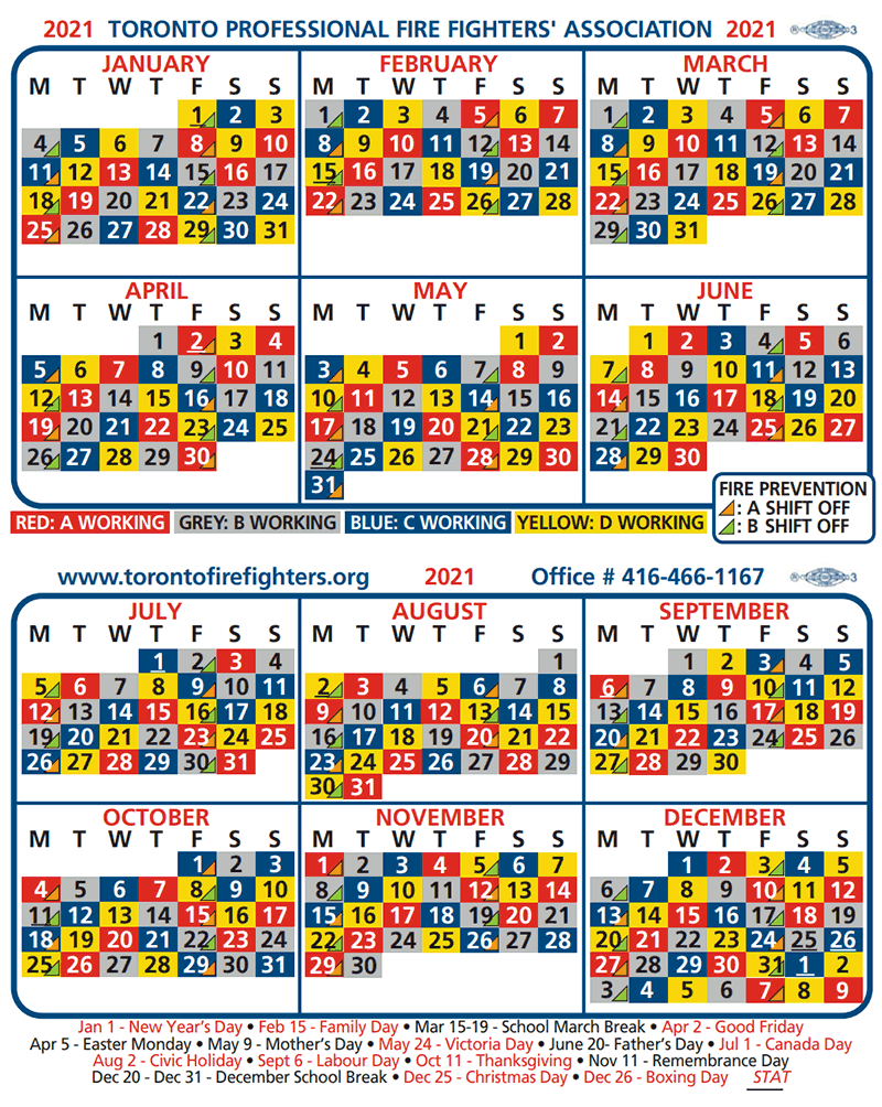 Toronto Fire Shift Calendar   Greater Toronto Multiple