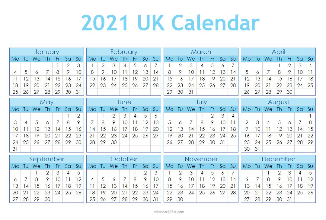 Uk 2021 Calendar Printable Holidays Word Excel Pdf - Calendar Template 2021