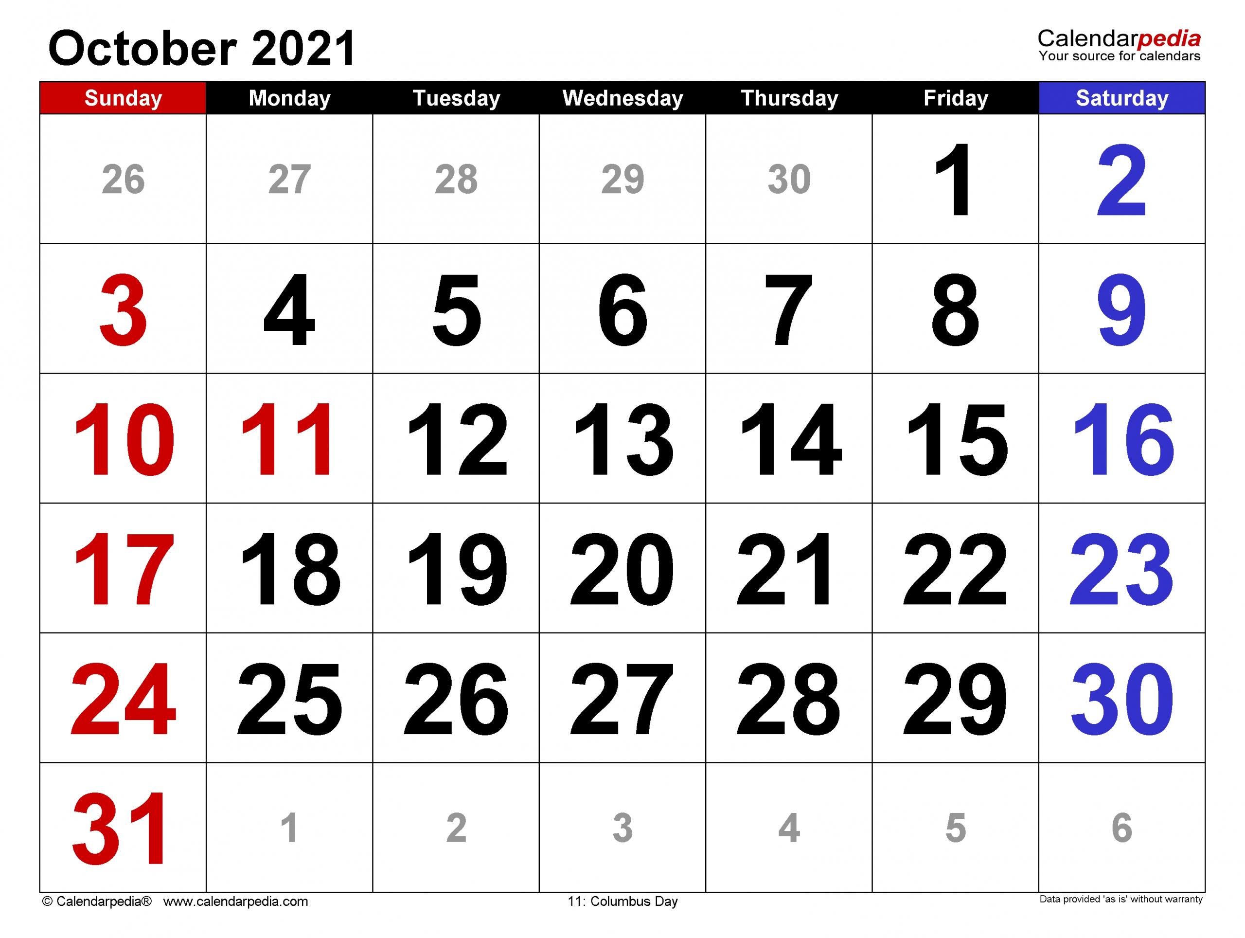 Universal October 2021 Calendar Monday To Friday   Get