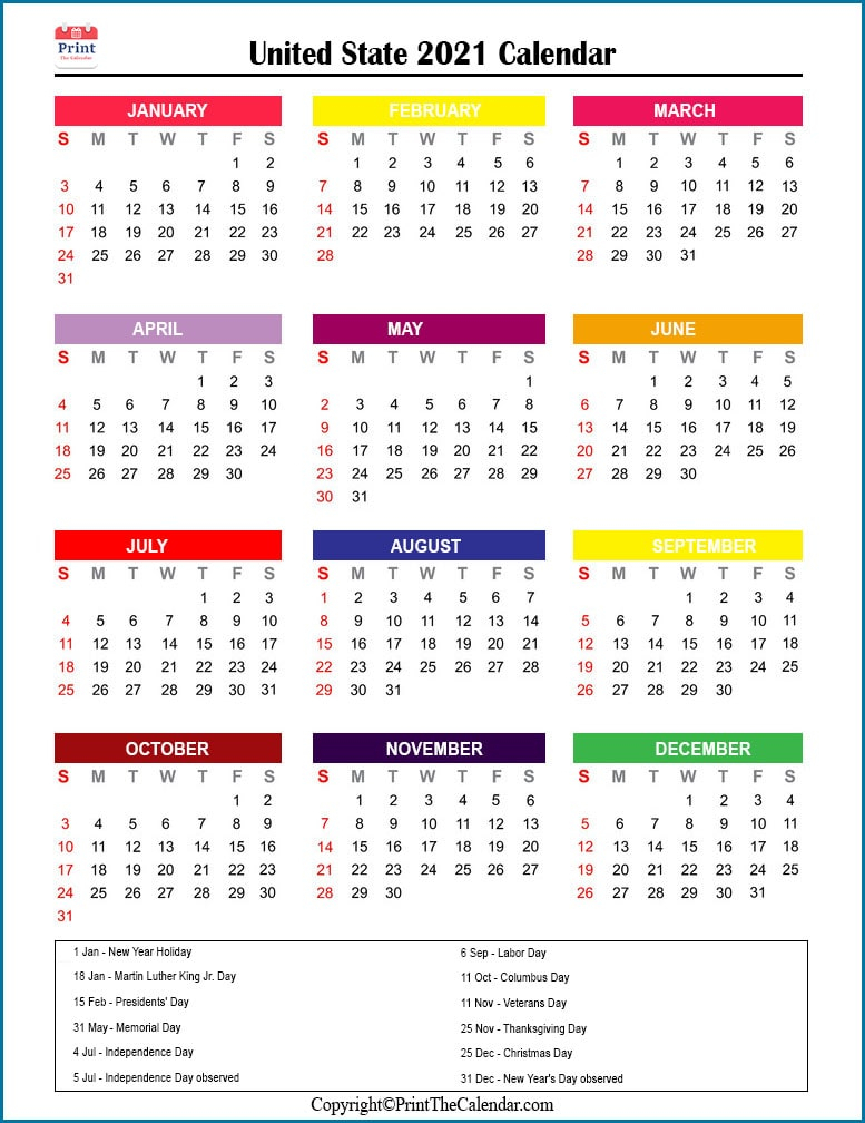 Us Holidays 2021 [2021 Calendar With Us Holidays]