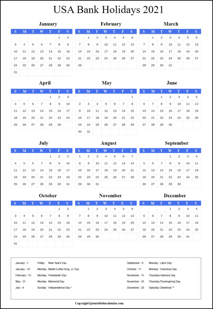 Usa Bank Holidays 2021   Printable The Calendar