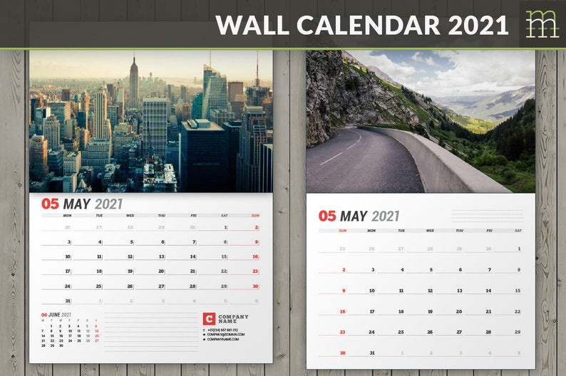 Wall Calendar 2021 Wc037-21 Editable Indesign Template | Etsy