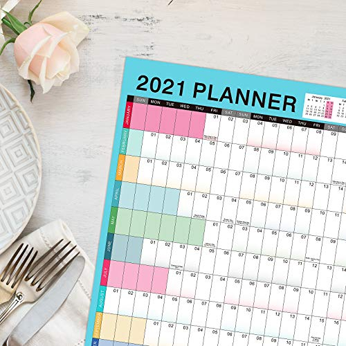 Wall Planner 2021, 2021 Yearly Planner, Wall Calendar 2021