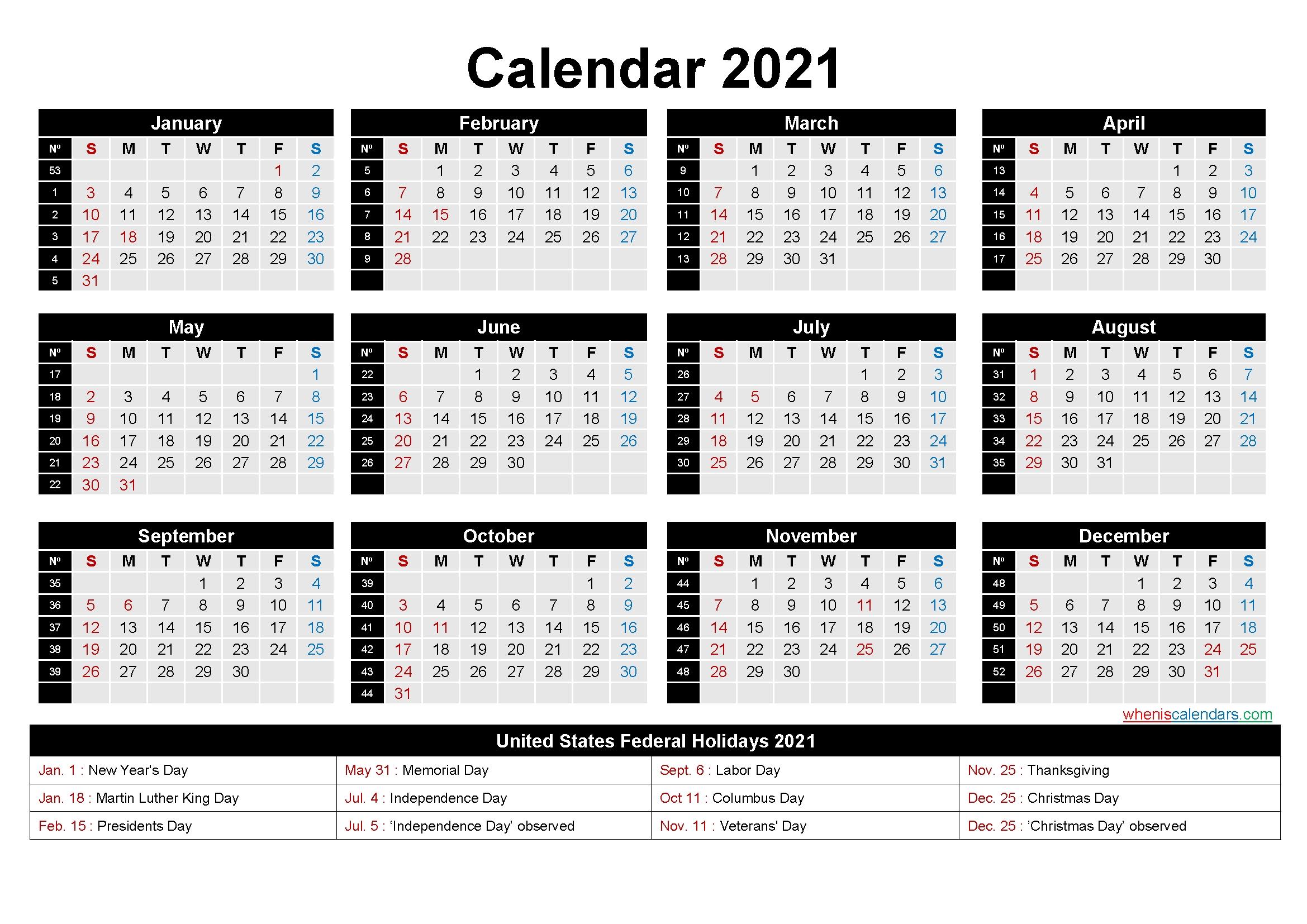 Week Calendar 2021 Pdf | Month Calendar Printable