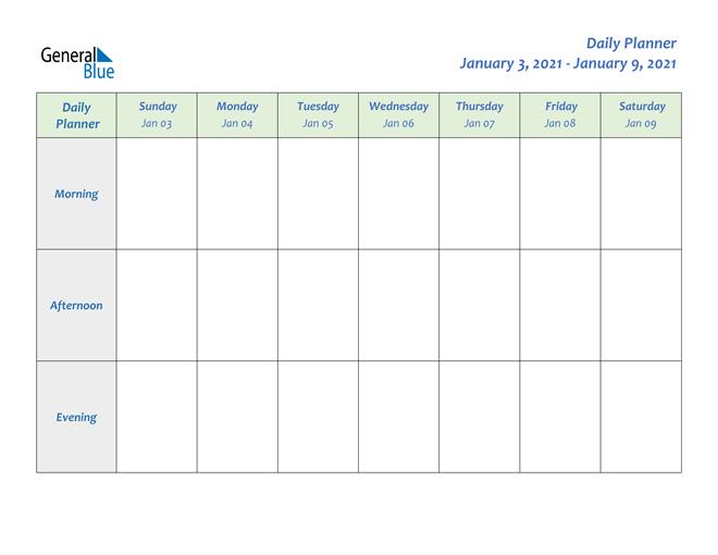 Weekly Calendar - January 3, 2021 To January 9, 2021