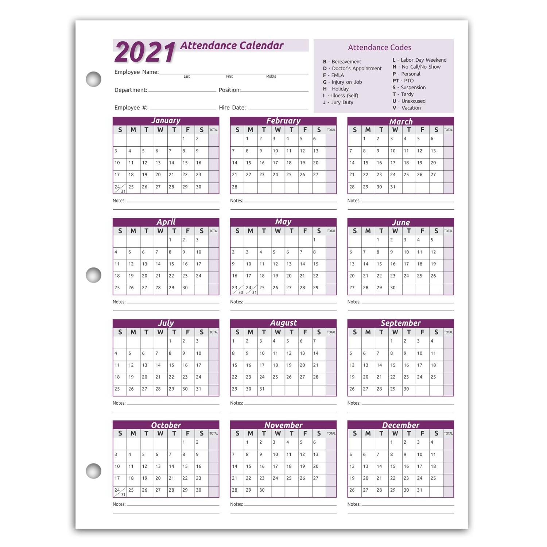 Work Tracker Attendance Calendar Cards- 8 ½ X 11 Cardstock