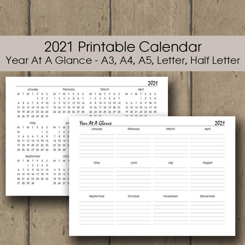 Year At A Glance 2021 Calendar Printable A3 A4 Letter Half