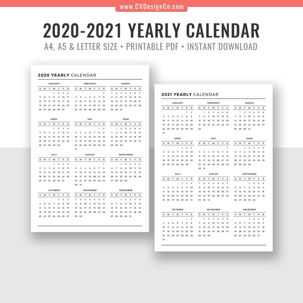Year At A Glance Calendar 2021