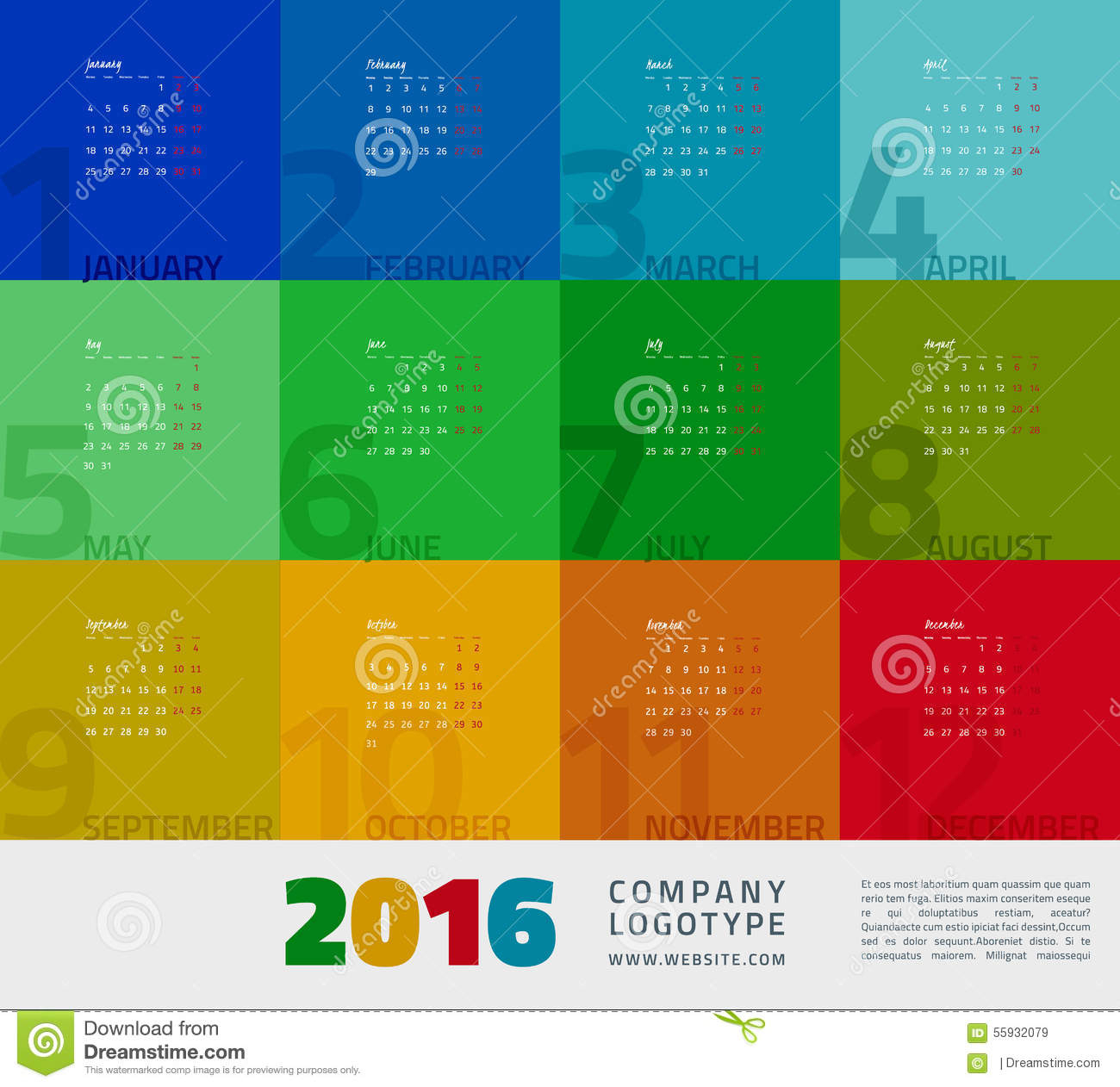 Year Calendar 2016 Stock Vector - Image: 55932079