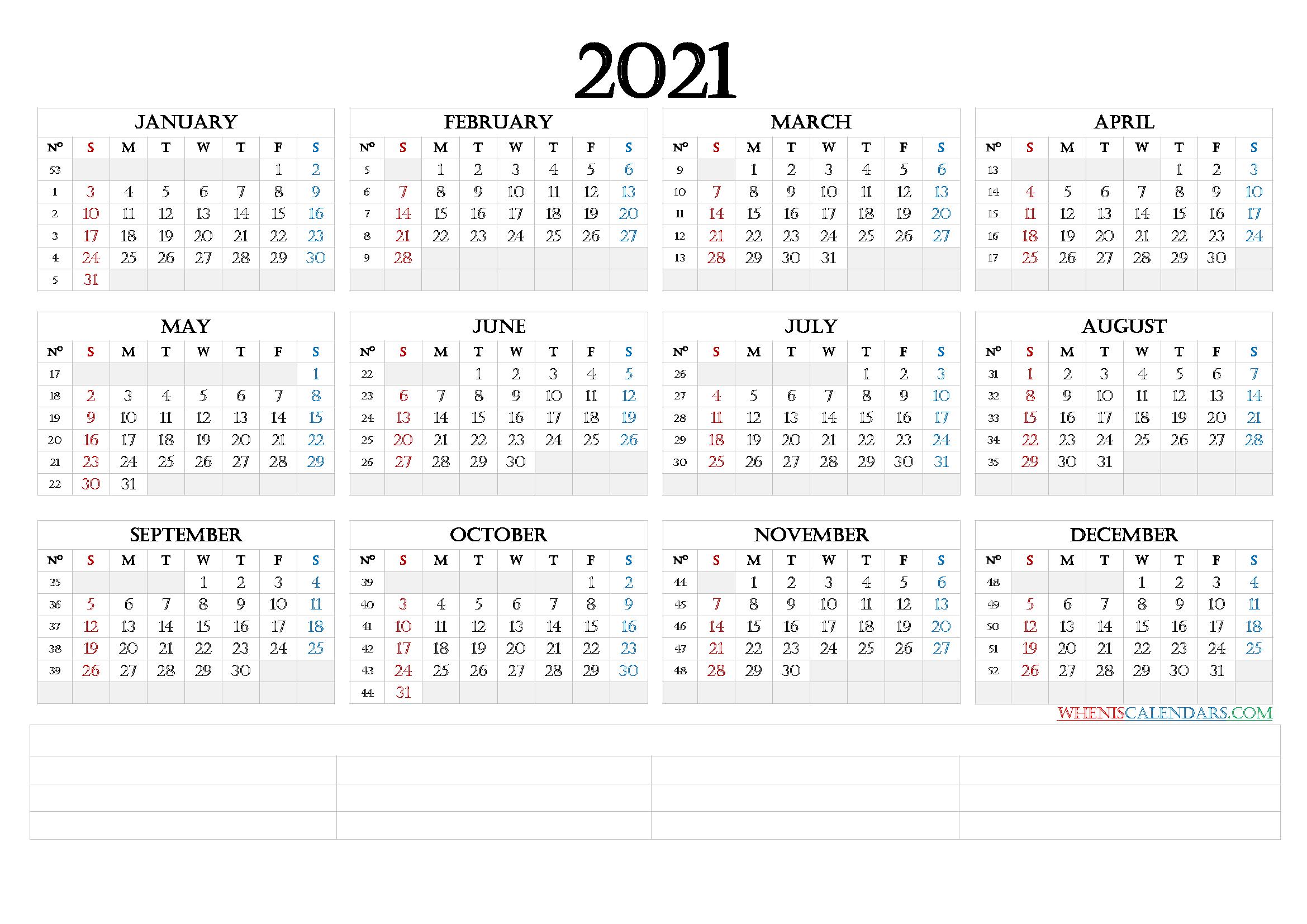 12 Month Calendar Printable 2021 (6 Templates) - Free