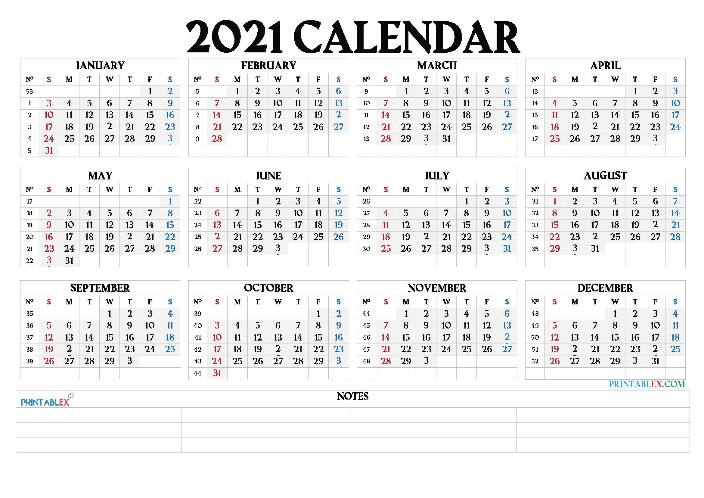 2021 Blank Monthly Calendar With Holidays