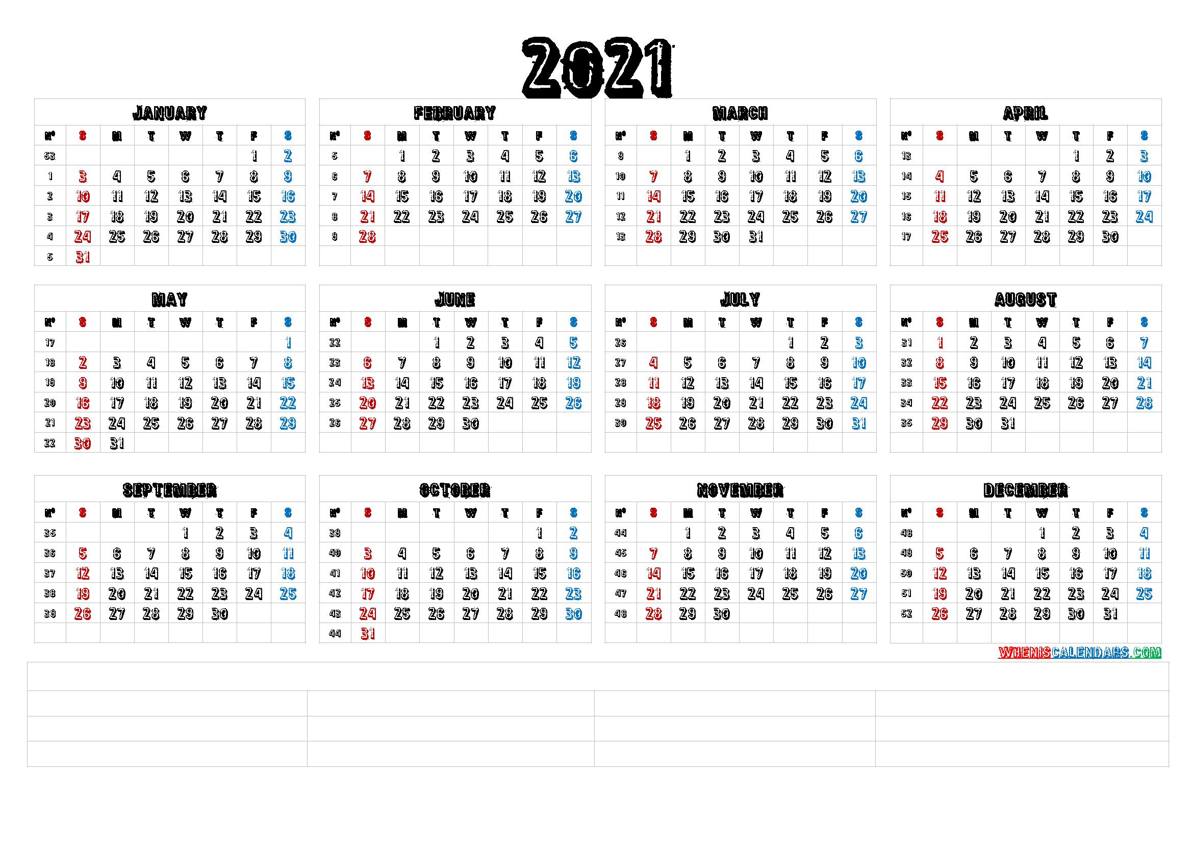 12 Month Calendar 2021