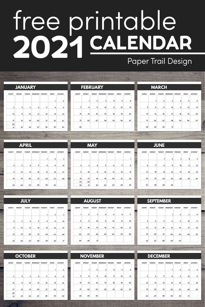 20+ 2021 Calendar Big Numbers - Free Download Printable