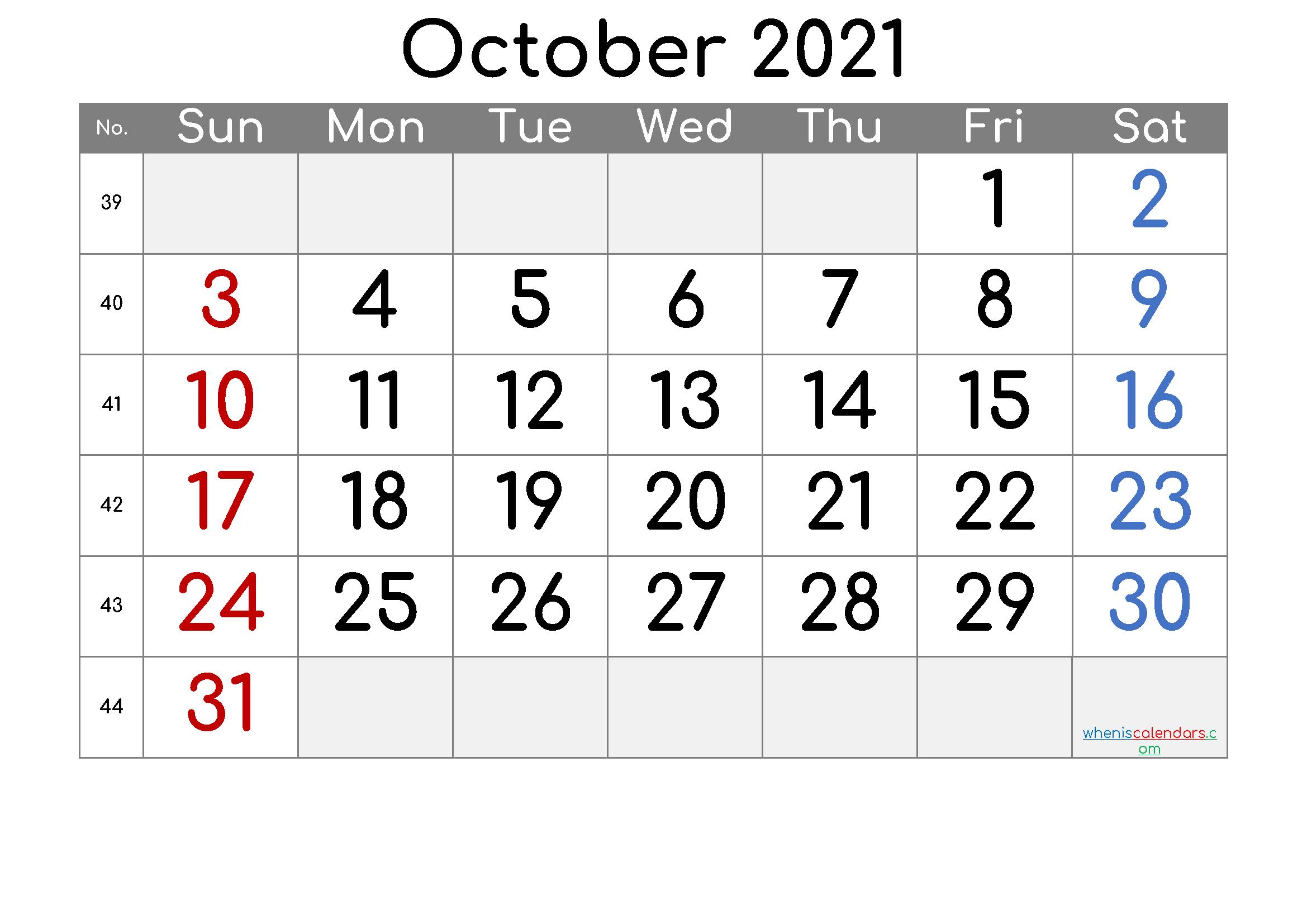 20+ October Calendar 2021 - Free Download Printable