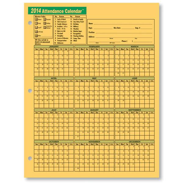 2015 Attendance Calendar