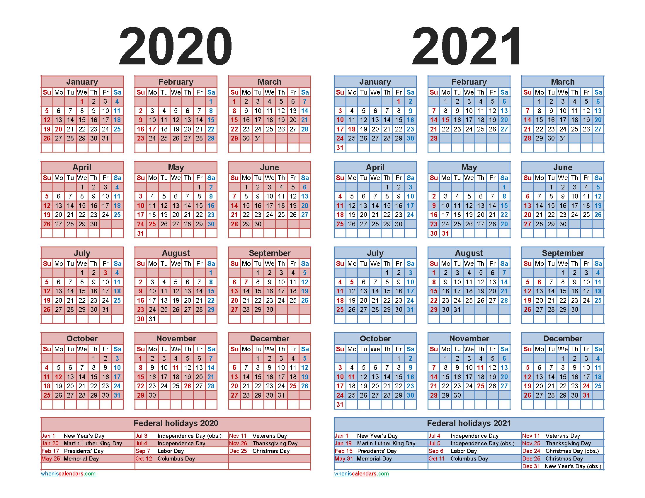 2020 And 2021 Calendar Printable With Holidays Word, Pdf