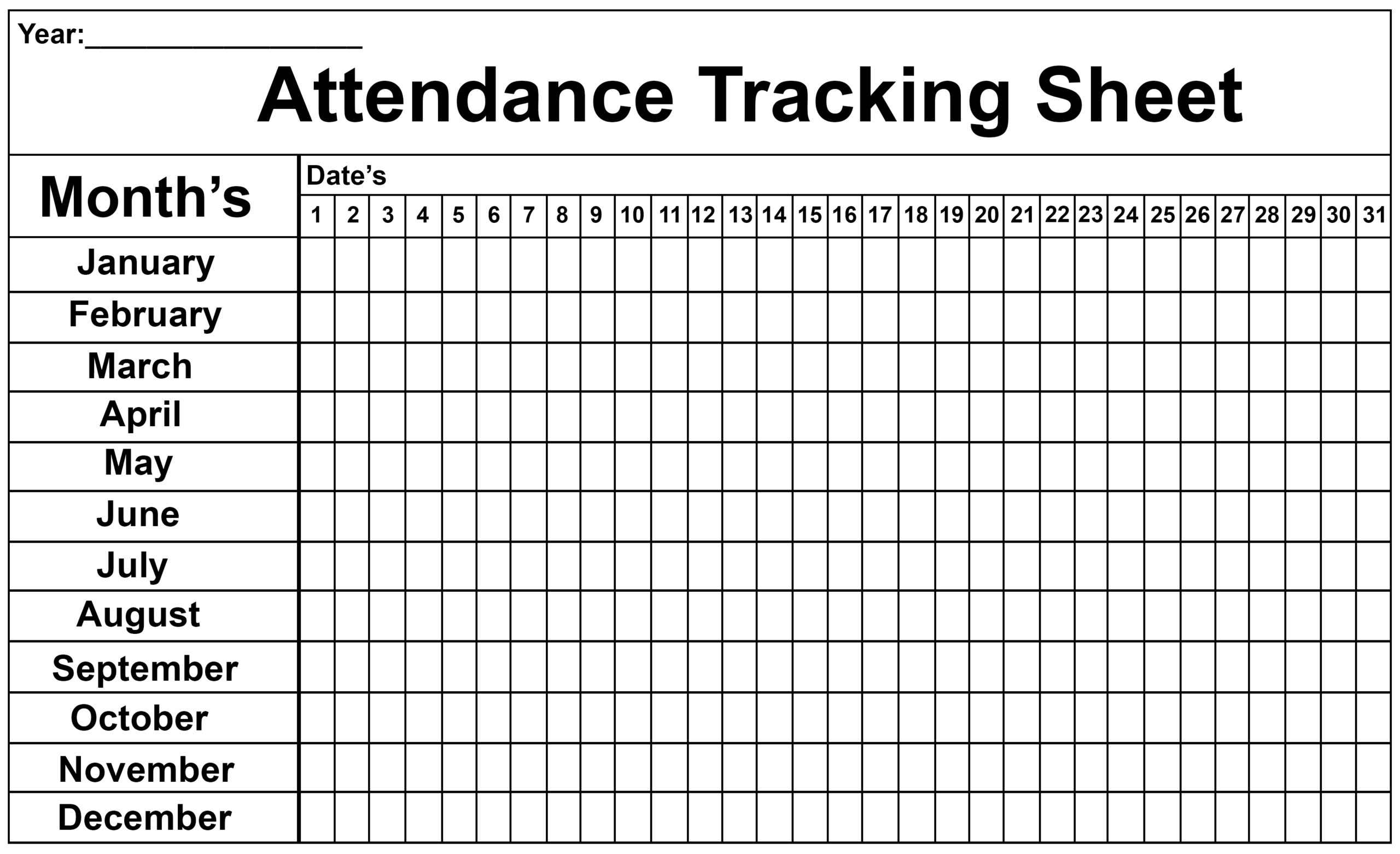 2020 Attendance Tracker Template | Calendar Template Printable