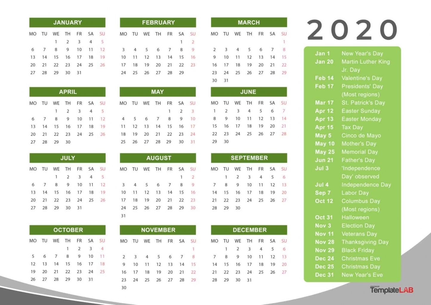 2020 Calendar With Holidays Printable | Free Letter Templates