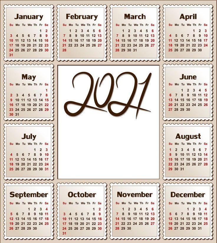 2021 12 Month Calendar Printable   Free Letter Templates