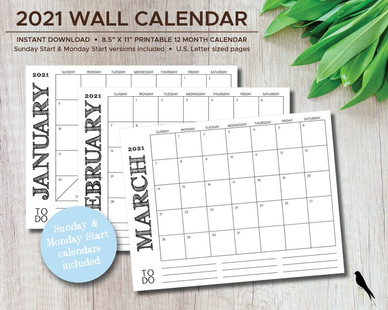 2021 12 Month Printable Calendar Free : 2021 12-Month