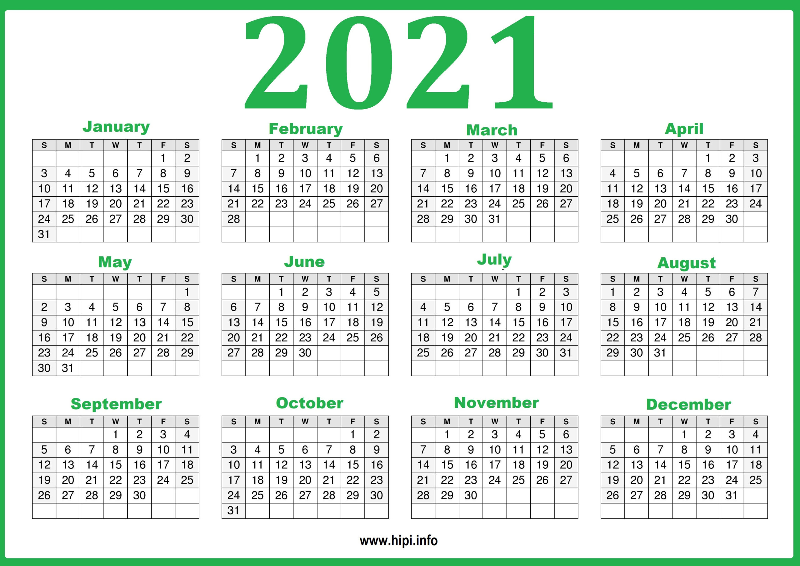 2021 12 Month Printable Calendar Free : Free Printable