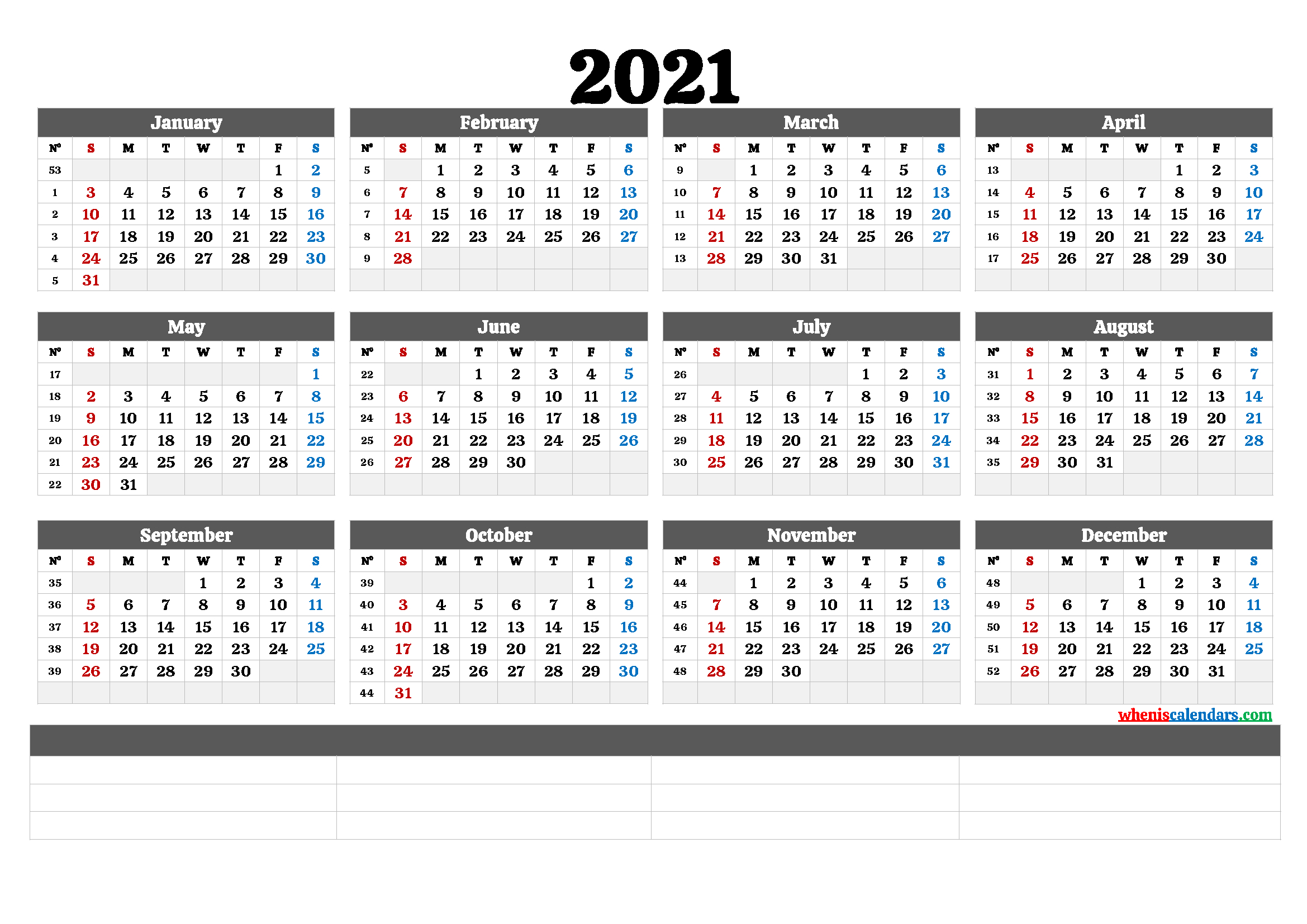 2021 Annual Calendar Printable (6 Templates) | Free