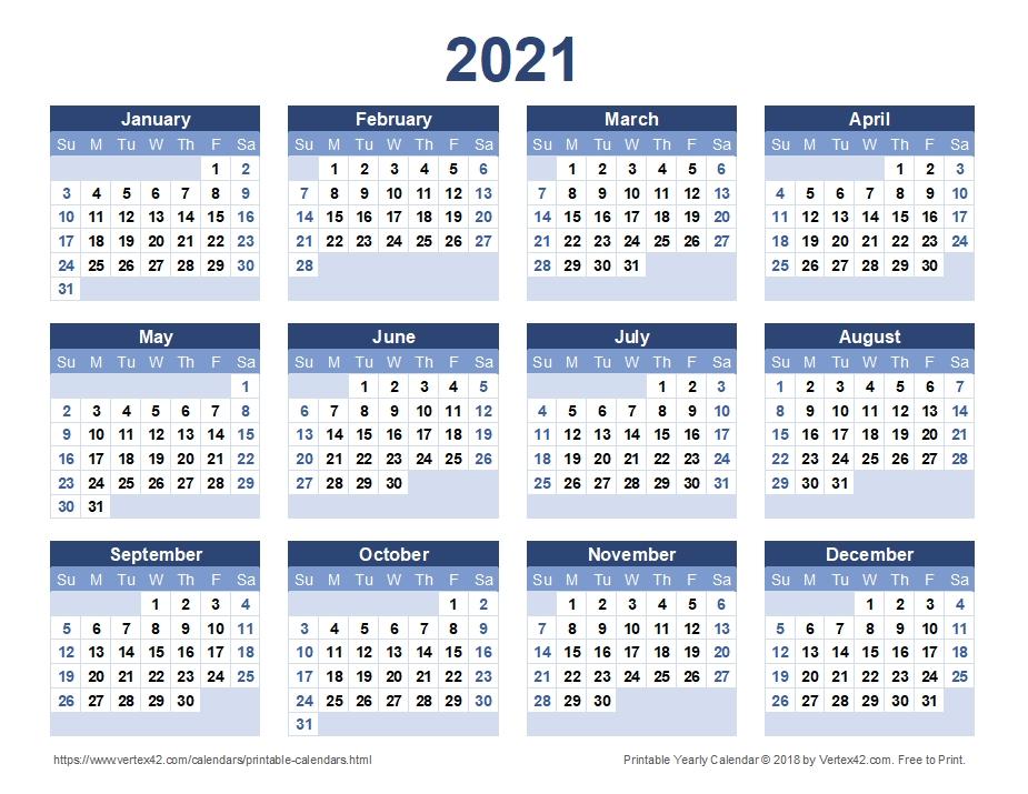 2021 Blank Yearly Calendar Template | Calvert Giving