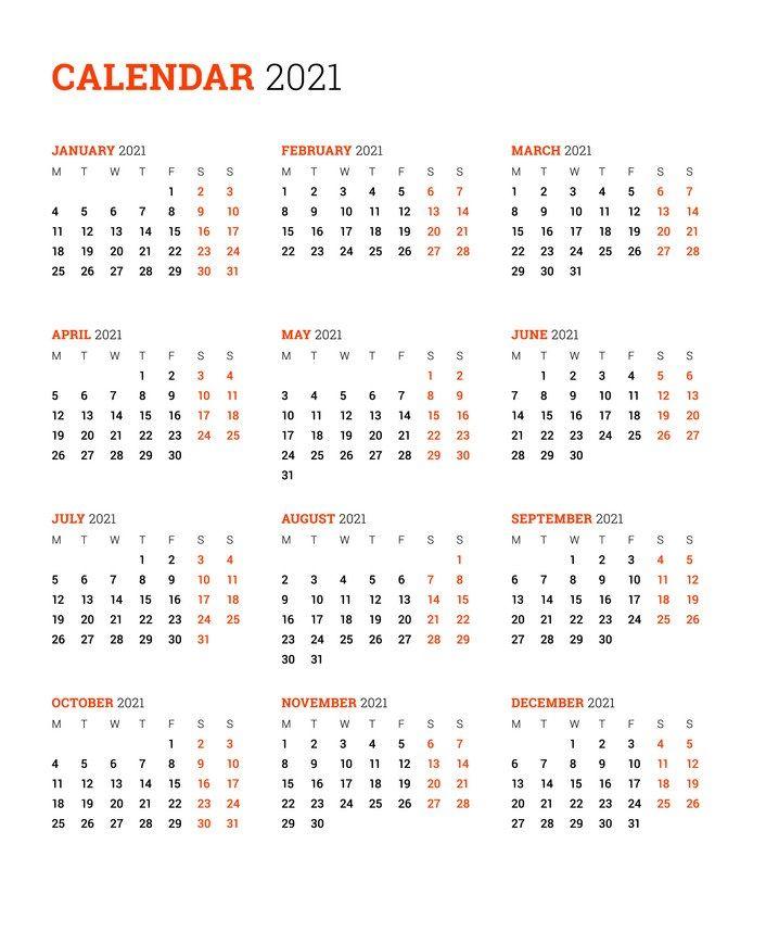 2021 Calendar 8 1 2 X 11 Printable | Free Letter Templates