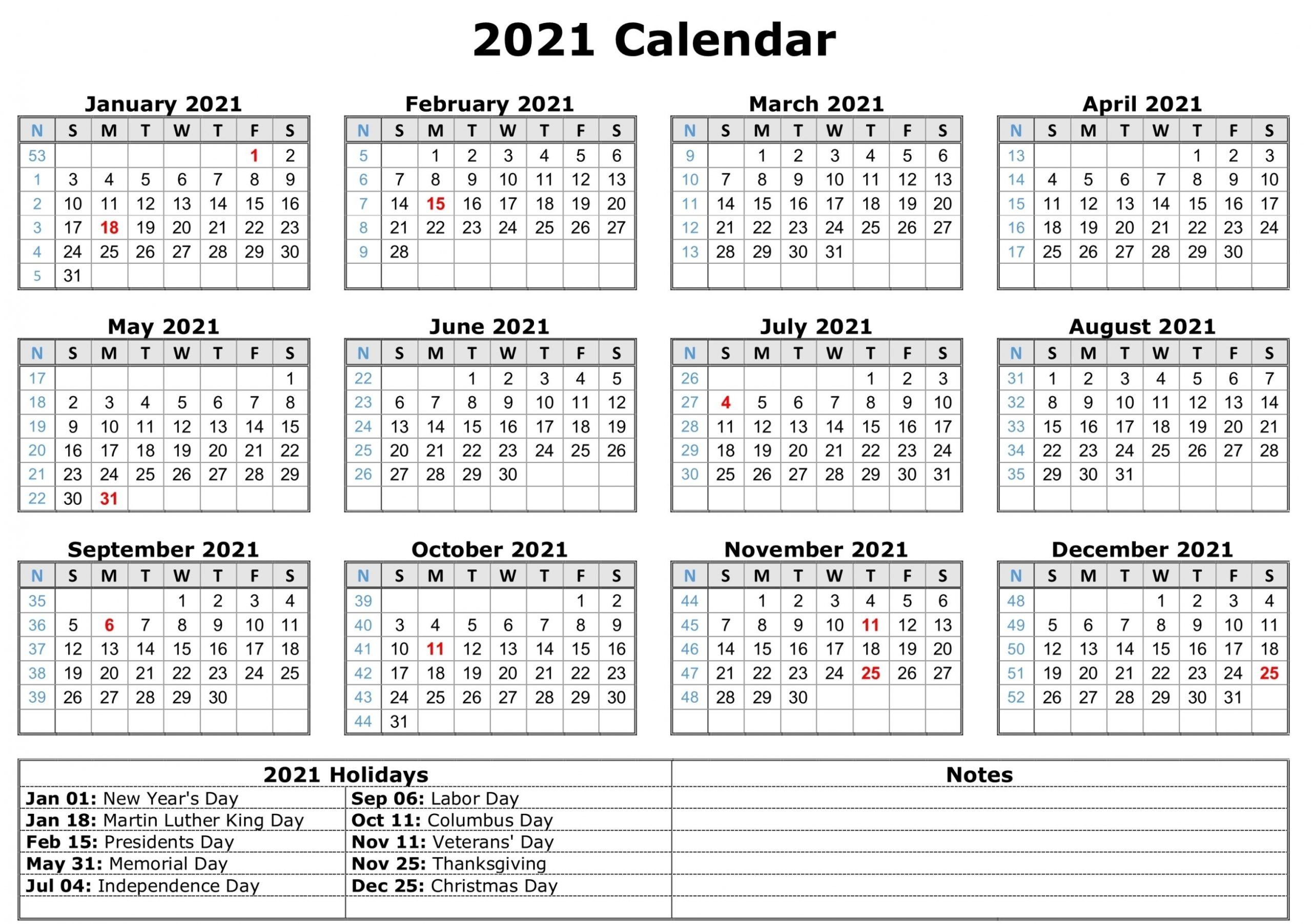 2021 Calendar One Page Template | Free Letter Templates