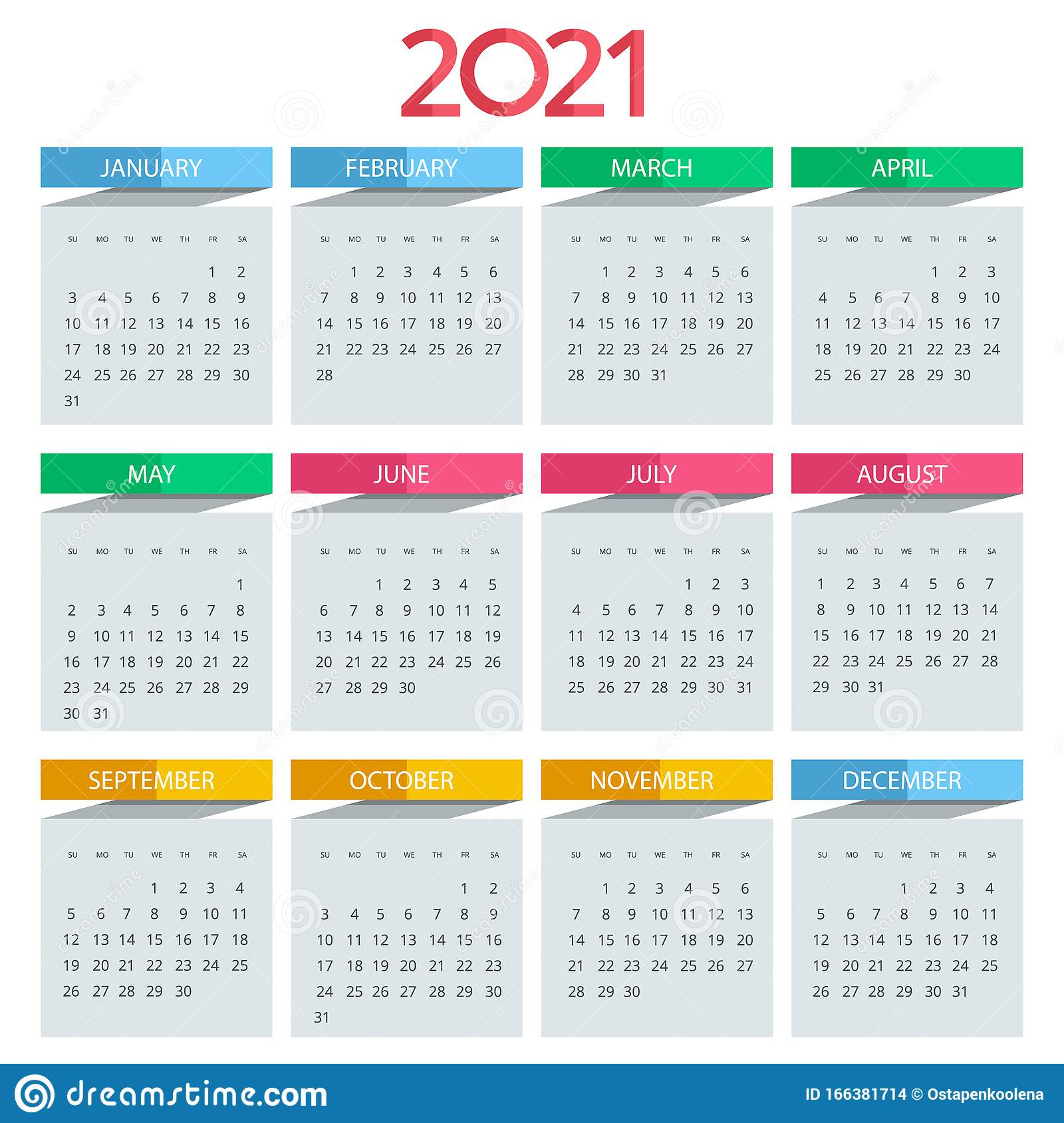 2021 Calendar, Print Template With Place For Photo, Your
