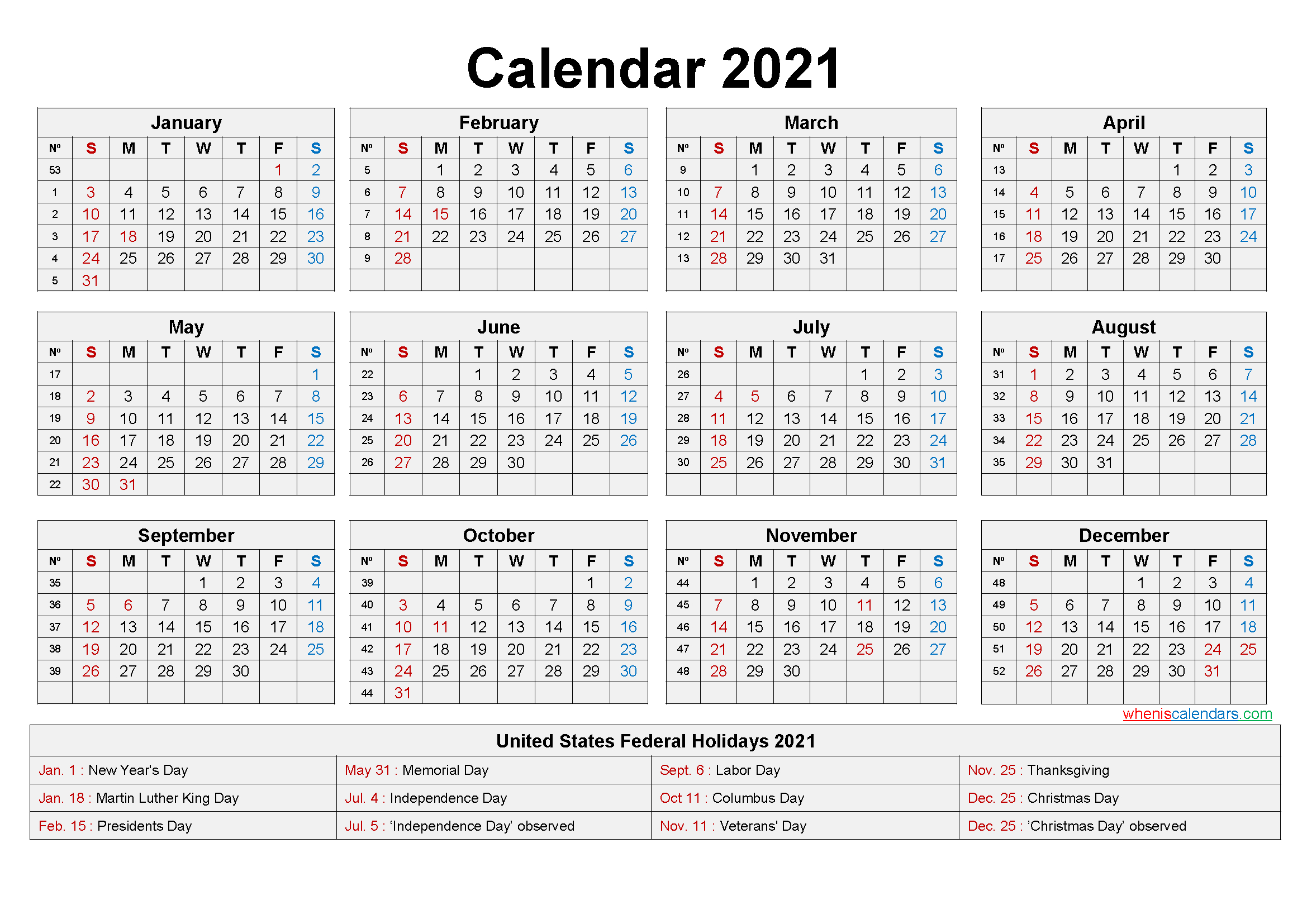 2021 Monthly Calendar Printable Pdf