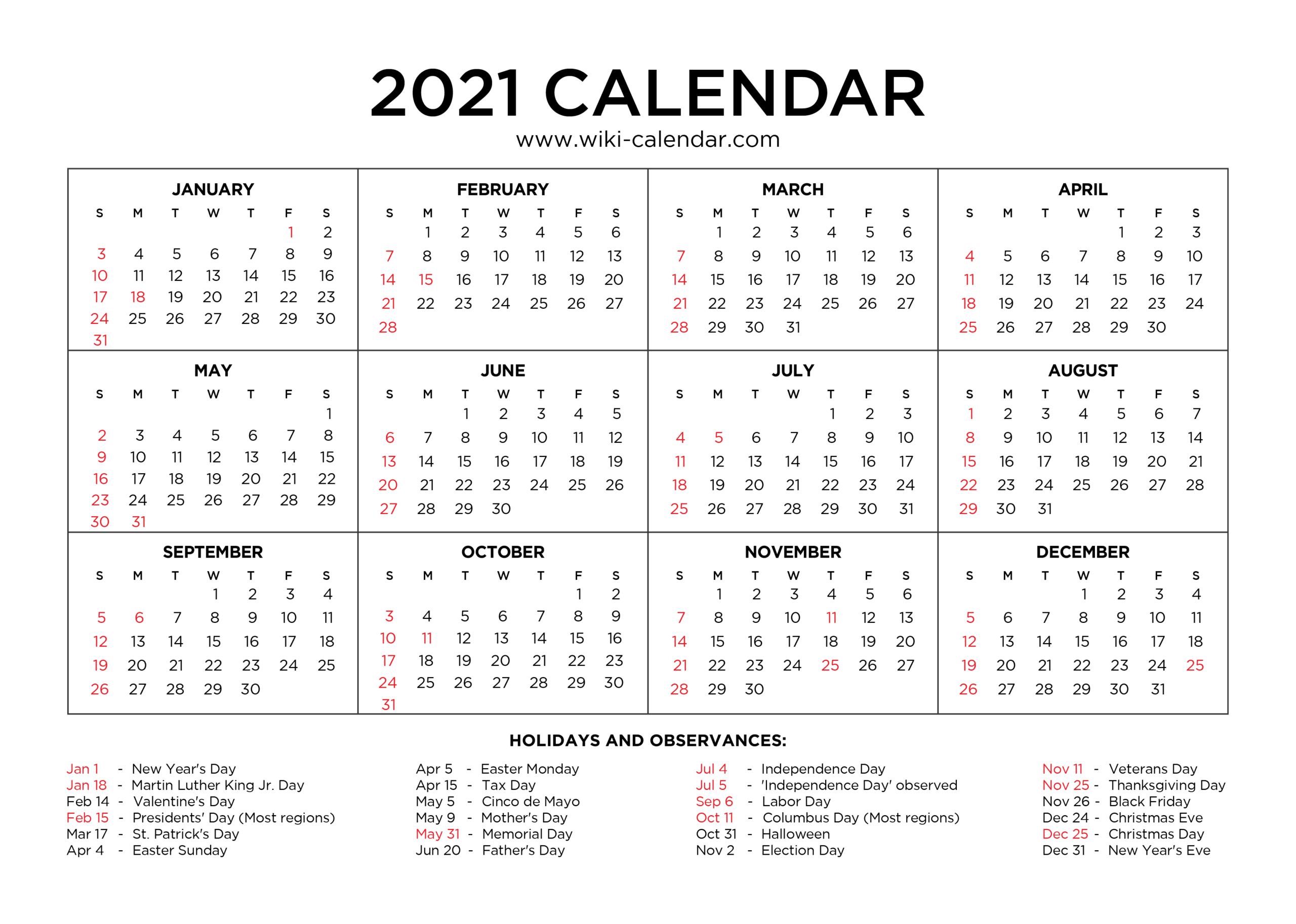 2021 Free 12 Month Printable Monthly Calendar   Calendar