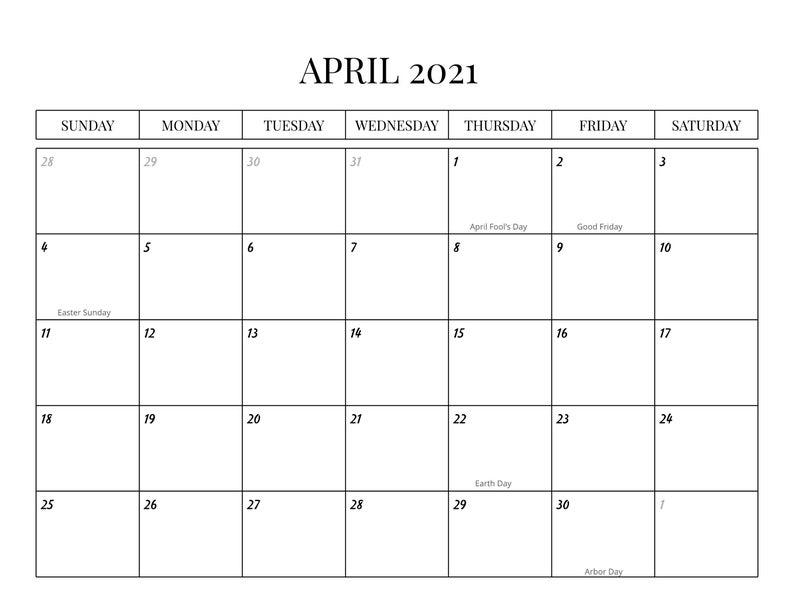 2021 Monthly Calendar With Holidays Sunday-Saturday   Etsy