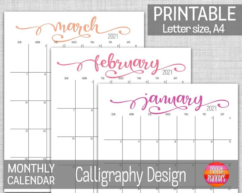 2021 Monthly Planner Calendar Set 8.5X11 A4 Printable | Etsy