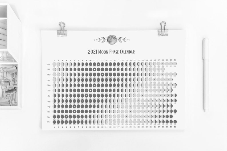 2021 Moon Phase Calendar Printable Wall Calendar Pdf | Etsy