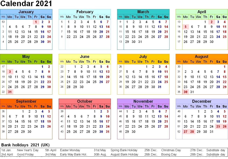 2021 Printable Calendar Template 12 Month   Free Printable