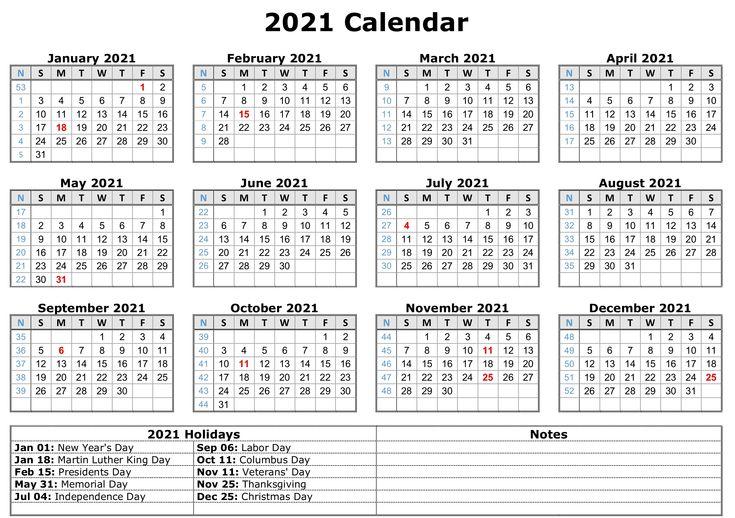 2021 Printable Calendar With Holidays   Free Printable