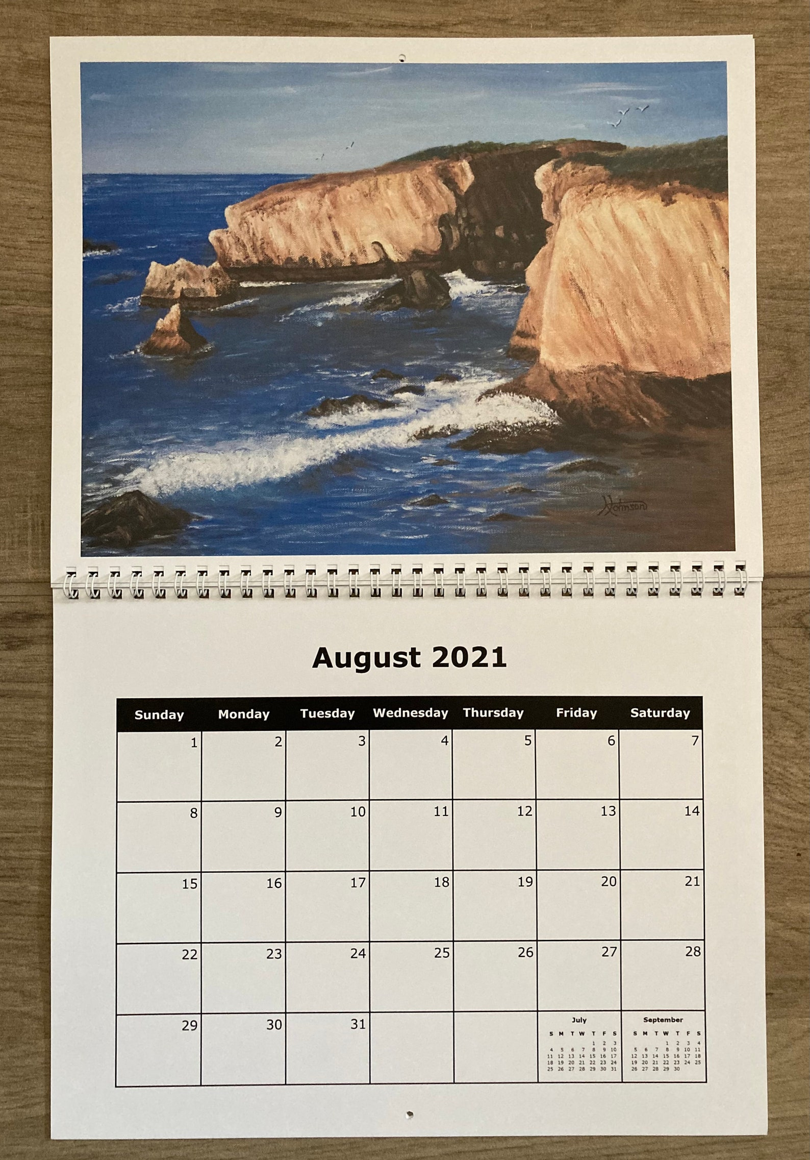 2021 Wall Calendar Seascape And Country Collection 8 1/2 X