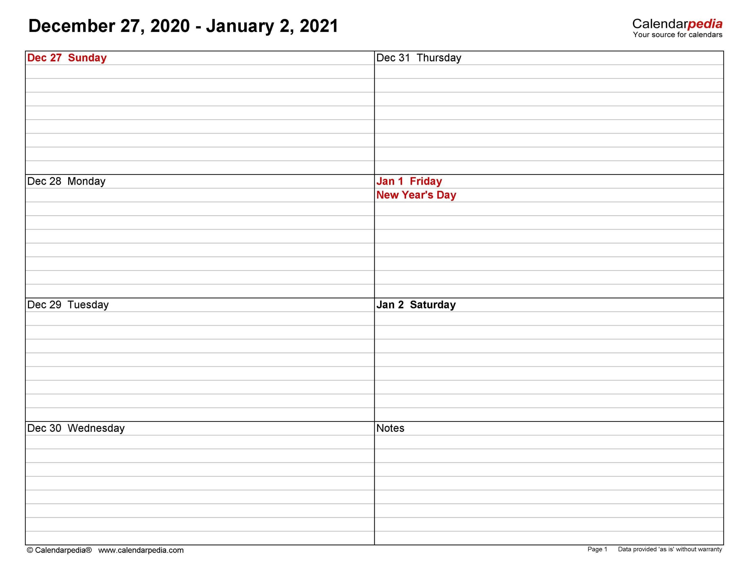 2021 Weekly Planner Printable